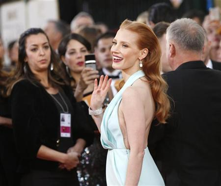 Actress Jessica Chastain, from the film ''Zero Dark Thirty,'' arrives at the 70th annual Golden Globe Awards in Beverly Hills, California, January 13, 2013. REUTERS/Mario Anzuoni (UNITED STATES - Tags: ENTERTAINMENT)