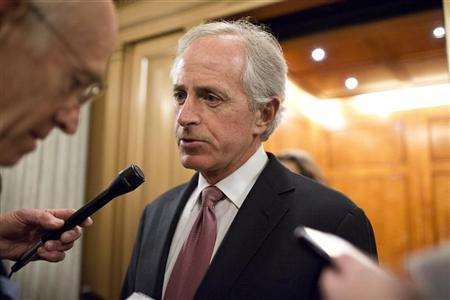 Senator Bob Corker (R-TN) speaks with reporters after a vote on Capitol Hill in Washington December 17, 2012. REUTERS/Joshua Roberts