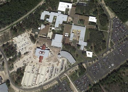 The Lone Star College North Harris campus is seen in this undated satellite image courtesy of Google Earth. A person with a gun was on the campus of the community college but it was unclear if anyone had been shot, a spokesman for the school said Tuesday. REUTERS/Google Earth/Handout