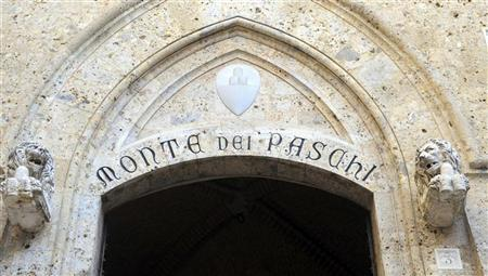 The main entrance at the Monte dei Paschi headquarters is seen in Siena January 20, 2012. REUTERS/Stringer