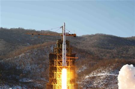The Unha-3 (Milky Way 3) rocket carrying the second version of Kwangmyongsong-3 satellite, is launched at West Sea Satellite Launch Site in Cholsan county, North Pyongan province, December 12, 2012 in this picture released by the North's KCNA news agency in Pyongyang early December 14, 2012. REUTERS/KCNA