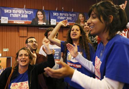 Supporter of Israel's Labour party cheer in front of banners depicting party leader Shelly Yachimovich after the exit polls were announced at the party's headquarters in Beit Berl, north of Tel Aviv January 22, 2013. Hawkish Prime Minister Benjamin Netanyahu emerged the bruised winner of Israel's election on Tuesday, claiming victory despite unexpected losses to resurgent centre-left challengers. REUTERS/Amir Cohen (ISRAEL - Tags: POLITICS ELECTIONS)