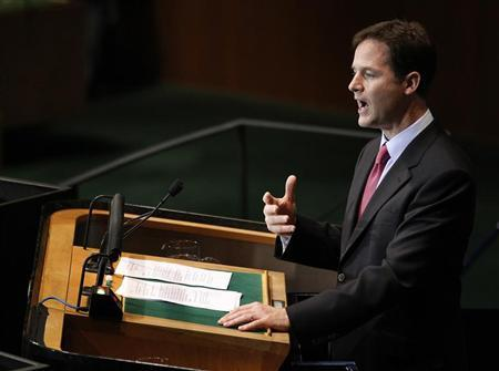 Britain's Deputy Prime Minister Nick Clegg addresses the 65th United Nations General Assembly at U.N. headquarters in New York September 24, 2010. REUTERS/Shannon Stapleton