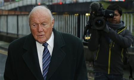 British broadcaster Stuart Hall arrives at Preston Magistrates Court in Preston, northern England, January 7, 2013. The 82-year-old is facing charges of indecent assault following complaints to police about alleged incidents involving three girls. He has said, through his solicitor, that he is innocent and denies the allegations. REUTERS/Phil Noble