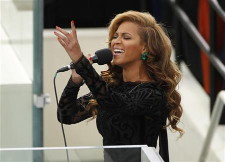 Beyonce sings the National Anthem during inauguration ceremonies held for U.S. President Barack Obama in Washington, January 21, 2013. REUTERS/Kevin Lamarque