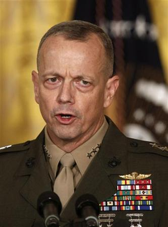 U.S. Marine Lt. Gen. John Allen talks in the East Room of the White House in this April 28, 2011 file photo during U.S. President Barack Obama's announcement that then CIA Director Leon Panetta would be nominated as Secretary of Defense. REUTERS/Larry Downing