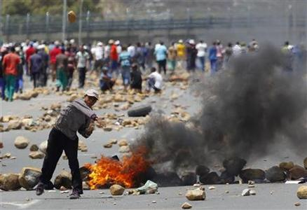 A protester throws a stone at the police during a strike by farm workers at De Doorns on the N1 highway linking Cape Town and Johannesburg January 9, 2013. REUTERS/Mike Hutchings