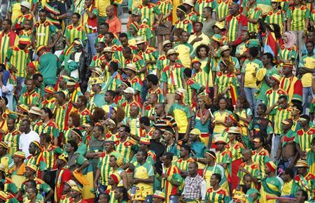 Ethiopian fans look on following the red carding of Ethiopia's goalkeeper Jemal Tassew during their African Nations Cup (AFCON 2013) Group C soccer match against Zambia in Nelspruit, January 21, 2013. REUTERS/Thomas Mukoya