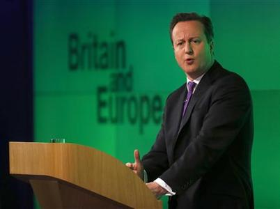 Britain's Prime Minister David Cameron delivers a speech on the European Union and Britain's role within it, in central London January 23, 2013. REUTERS-Suzanne Plunkett