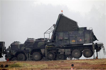 German military vehicles carrying equipment for NATO patriot defence missiles are deployed at a military base in Kahramanmaras January 23, 2013. REUTERS/Umit Bektas