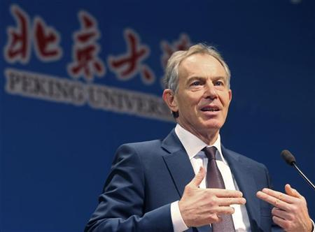 Britain's former prime minister Tony Blair gives a speech at Peking University in Beijing December 1, 2012. REUTERS/China Daily