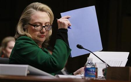 U.S.Secretary of State Hillary Clinton testifies on the September attack on U.S. diplomatic sites in Benghazi, Libya during a hearing held by the U.S. Senate Foreign Relations Committee on Capitol Hill in Washington January 23, 2013. REUTERS/Jason Reed