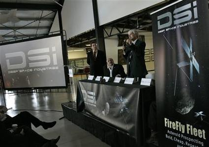 Officials from Deep Space Industries announce their plans for the world's first fleet of commercial asteroid-prospecting spacecraft at the Museum of Flying in Santa Monica, California, January 22, 2013. REUTERS/Jonathan Alcorn