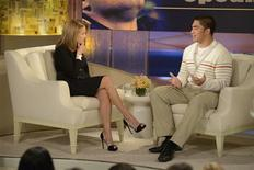ABC's Katie Couric interviews Note Dame football star Manti Te'o during an exclusive taped interview in New York in this ABC handout released January 23, 2013. REUTERS/Disney-ABC/ Lorenzo Bevilaqua