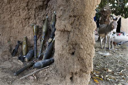 Rocket-propelled grenades believed to belong to Islamist rebels are stockpiled next to a donkey in a courtyard in Diabaly January 23, 2013. REUTERS/Joe Penney