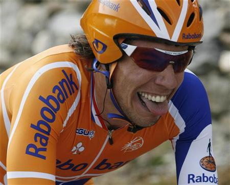 Thomas Dekker of the Netherlands cycles to finish second in the third against the clock stage of the Tour de Romandie cycling race in Sion May 2, 2008. REUTERS/Denis Balibouse