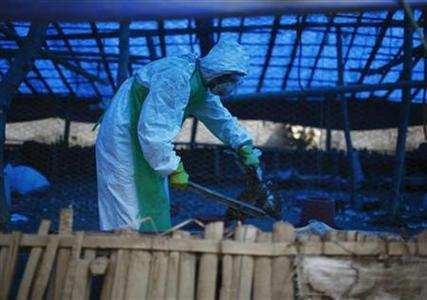 A member of the Rapid Response Team (RRT) culls a rooster in a poultry farm infected by H5N1 bird flu virus at Bode in Bhaktapur October 15, 2012. REUTERS/Navesh Chitrakar