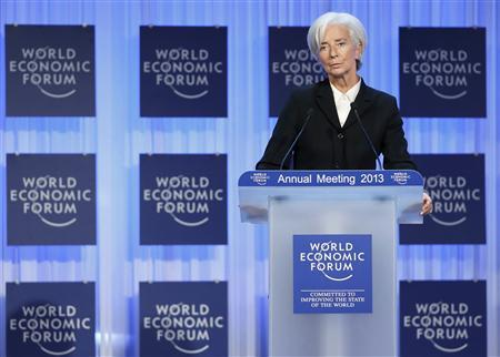 International Monetary Fund (IMF) chief Christine Lagarde addresses the annual meeting of the World Economic Forum (WEF) in Davos January 23, 2013. REUTERS/Pascal Lauener