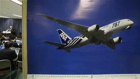 Norihiro Goto, Japan Transport Safety Board chairman, attends a news conference as a calendar displaying a picture of All Nippon Airways' Boeing Co's 787 Dreamliner plane is pictured, at the transport ministry in Tokyo January 23, 2013. REUTERS/Toru Hanai