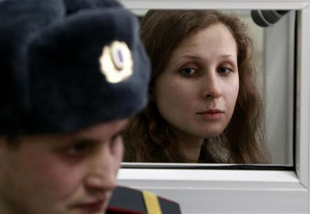 Maria Alyokhina, a member of the female punk band ''Pussy Riot'', attends a court hearing in Berezniki in Perm region, near the Ural mountains, January 16, 2013. REUTERS/Sergei Karpukhin
