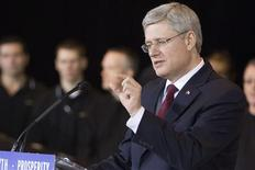 Canada's Prime Minister Stephen Harper speaks during an announcement at the Lexus Assembly plant in Cambridge, Ontario, January 23, 2013. REUTERS/Geoff Robins