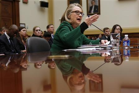 U.S.Secretary of State Hillary Clinton testifies on the September attack on U.S. diplomatic sites in Benghazi, Libya during a hearing held by the House Foreign Affairs committee on Capitol Hill in Washington January 23, 2013. REUTERS/Kevin Lamarque