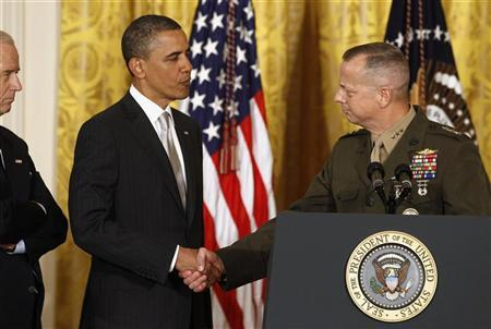 U.S. Marine Lt. Gen. John Allen shakes hands with U.S. President Barack Obama at an event in the East Room of the White House in this April 28, 2011 file photo during Obama's announcement that then CIA Director Leon Panetta would be nominated as Secretary of Defense. REUTERS/Larry Downing