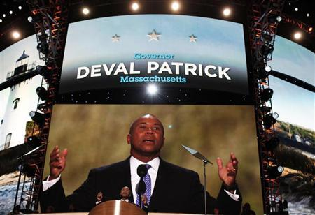 Massachusetts Governor Deval Patrick addresses the first session of the Democratic National Convention in Charlotte, North Carolina September 4, 2012. REUTERS/Jim Young
