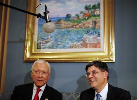 Jack Lew (R), U.S. President Barack Obama's nominee for Treasury Secretary, meets with U.S. Senator Orrin Hatch (R-UT) on Capitol Hill in Washington, January 23, 2013. REUTERS/Jason Reed