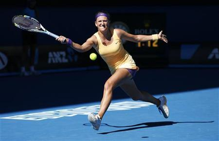 Victoria Azarenka of Belarus hits a return to Sloane Stephens of the U.S. during their women's singles semi-final match at the Australian Open tennis tournament in Melbourne, January 24, 2013. REUTERS/Tim Wimborne