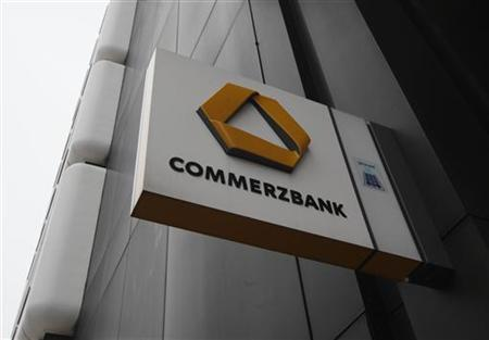 The logo of Germany's Commerzbank is pictured at a branch in Dortmund January 24, 2013. Commerzbank, Germany's second-biggest lender, plans to cut up to 12 percent of staff by 2016 in a bid to slash costs and revamp its ailing retail Business. The bank said on Thursday, it would cut 4,000-6,000 full-time positions, with the exact figure to be negotiated with labour representatives in talks starting February. REUTERS/Ina Fassbender (GERMANY - Tags: BUSINESS EMPLOYMENT LOGO)