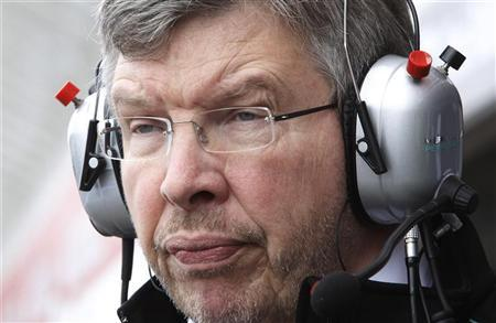 Mercedes Formula One team principal Ross Brawn follows the first practice for the German F1 Grand Prix at the Hockenheimring in Hockenheim July 20, 2012. REUTERS/Ralph Orlowski