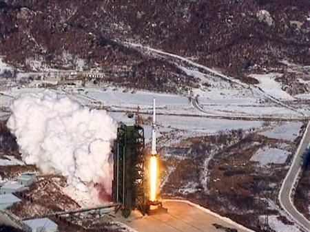 A video grab from KCNA shows the Unha-3 (Milky Way 3) rocket launching at North Korea's West Sea Satellite Launch Site, at the satellite control centre in Cholsan county, North Pyongan province in this video released by KCNA in Pyongyang December 13, 2012. KCNA said the video was taken December 12, 2012. REUTERS/KCNA