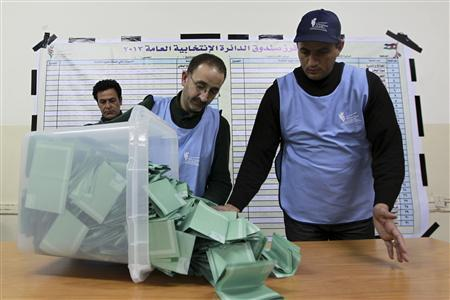 Officials count ballots after polls closed at a polling station in Amman January 23, 2013. REUTERS/Muhammad Hammad