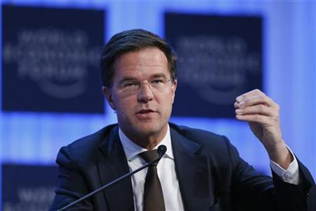 Netherland's Prime Minister Mark Rutte speaks during the annual meeting of the World Economic Forum (WEF) in Davos January 24, 2013. REUTERS/Pascal Lauener