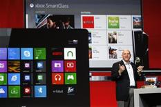 Microsoft CEO Steve Ballmer speaks in front of Microsoft products at the Qualcomm pre-show keynote at the Consumer Electronics Show (CES) in Las Vegas in this January 7, 2013, file photo. REUTERS/Rick Wilking/Files