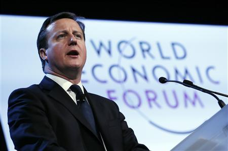 Britain's Prime Minister David Cameron speaks during the annual meeting of the World Economic Forum (WEF) in Davos January 24, 2013. REUTERS/Pascal Lauener