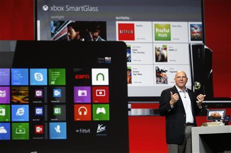 Microsoft CEO Steve Ballmer speaks in front of Microsoft products at the Qualcomm pre-show keynote at the Consumer Electronics Show (CES) in Las Vegas in this January 7, 2013, file photo. Microsoft Corp reported a dip in fiscal second-quarter profit on January 24, 2013, as weaker sales of its Xbox game system in the holiday quarter offset a solid start for its new Windows 8 operating system. REUTERS/Rick Wilking/Files