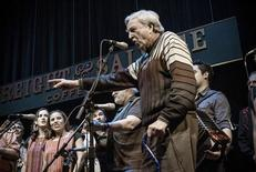 "Chris Strachwitz (R), founder of Arhoolie Records, speaks during a gathering in February 2011 in Berkeley, California for a 50th anniversary concert featuring artists from the record label in this publicity picture provided by Courtesy Arhoolie Records to Reuters January 24, 2013. The three-night run was released this week as ""They All Played for Us,"" a 4-CD set and photo book that showcases Arhoolie's mosaic of musicians. REUTERS/Courtesy Arhoolie Records/Handout"