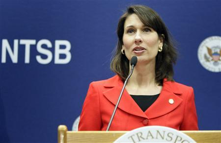 National Transportation Safety Board Chairman Deborah A. P. Hersman briefs reporters on the NTSB's ongoing investigative work being done on the malfunctioning JAL Boeing 787 lithium ion battery at their labs in Washington, January 24, 2013. REUTERS/Jonathan Ernst