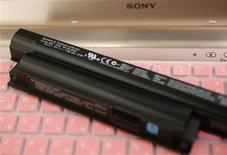 Sony's lithium-ion battery for its Vaio laptops is seen during a photo opportunity at its showroom in Tokyo November 28, 2012. REUTERS/Kim Kyung-Hoon (JAPAN - Tags: BUSINESS SCIENCE TECHNOLOGY ENERGY)
