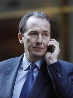 Morgan Stanley CEO James Gorman talks on his cell phone after leaving a meeting with lawyer Davis Polk in New York January 13, 2011. REUTERS/Jessica Rinaldi