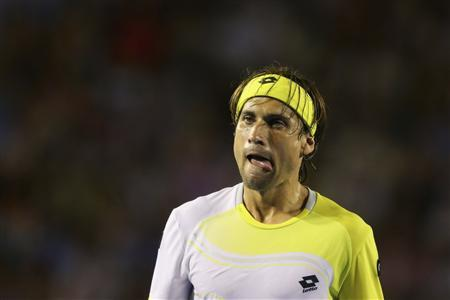 David Ferrer of Spain reacts during his men's singles semi-final match against Novak Djokovic of Serbia at the Australian Open tennis tournament in Melbourne, January 24, 2013. REUTERS/Quinn Rooney/Pool
