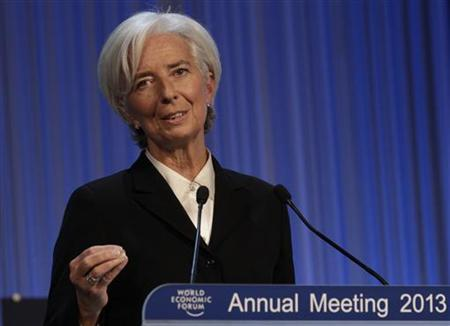 International Monetary Fund (IMF) chief Christine Lagarde addresses the annual meeting of the World Economic Forum (WEF) in Davos January 23, 2013. REUTERS/Denis Balibouse