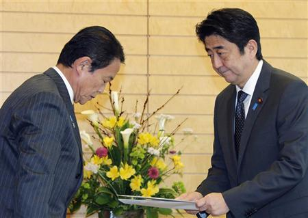 Japanese Prime Minister Shinzo Abe (R) receives a joint statement document from Finance Minister Taro Aso at the prime minister's official residence in Tokyo January 22, 2013. REUTERS/Koji Sasahara/Pool