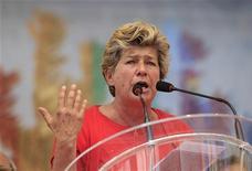 Il segretario generale della Cgil, Susanna Camusso, al comizio del primo. Rieti, 1 maggio 2012. REUTERS/Max Rossi