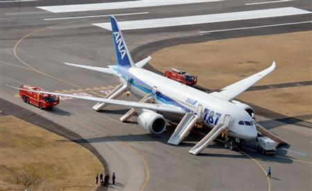 An All Nippon Airways (ANA) Boeing 787 Dreamliner is seen after making an emergency landing at Takamatsu airport in western Japan, in this photo taken by Kyodo, January 16, 2013. REUTERS/Kyodo