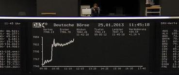 Les Bourses européennes progressaient à la mi-séance vendredi, après l'annonce par la BCE du remboursement anticipé par les banques de la zone euro de 137,2 milliards d'euros de prêts à trois ans. A 12h34, le CAC 40 s'adjugeait 0,59% à Paris, le Dax prenait 1,08% à Francfort mais le FTSE n'avançait que de 0,05% à Londres. /Photo prise le 25 janvier 2013/REUTERS/Remote/Marte Kiesling