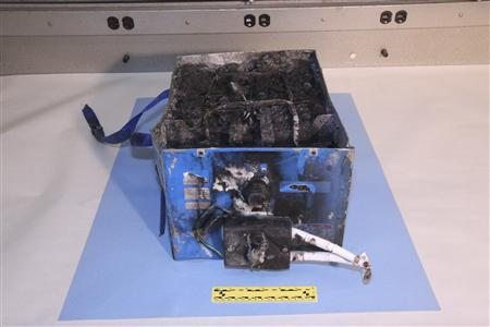 The burnt auxiliary power unit battery removed from a Japan Airlines Boeing 787 Dreamliner passenger jet is seen in this picture provided by the U.S. National Transportation Safety Board (NTSB). REUTERS/U.S. National Transportation Safety Board/Handout