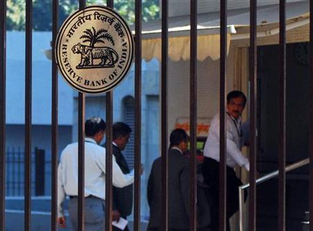 The Reserve Bank of India (RBI) logo is pictured outside its head office in Mumbai January 11, 2011. REUTERS/Stringer/Files